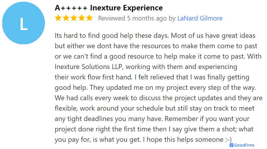 Inexture Client Review - Goodfirms